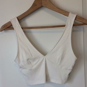 Forever 21 white ribbed tank crop top